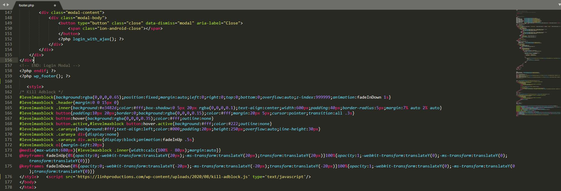 code tat adblock cho wordpress 1
