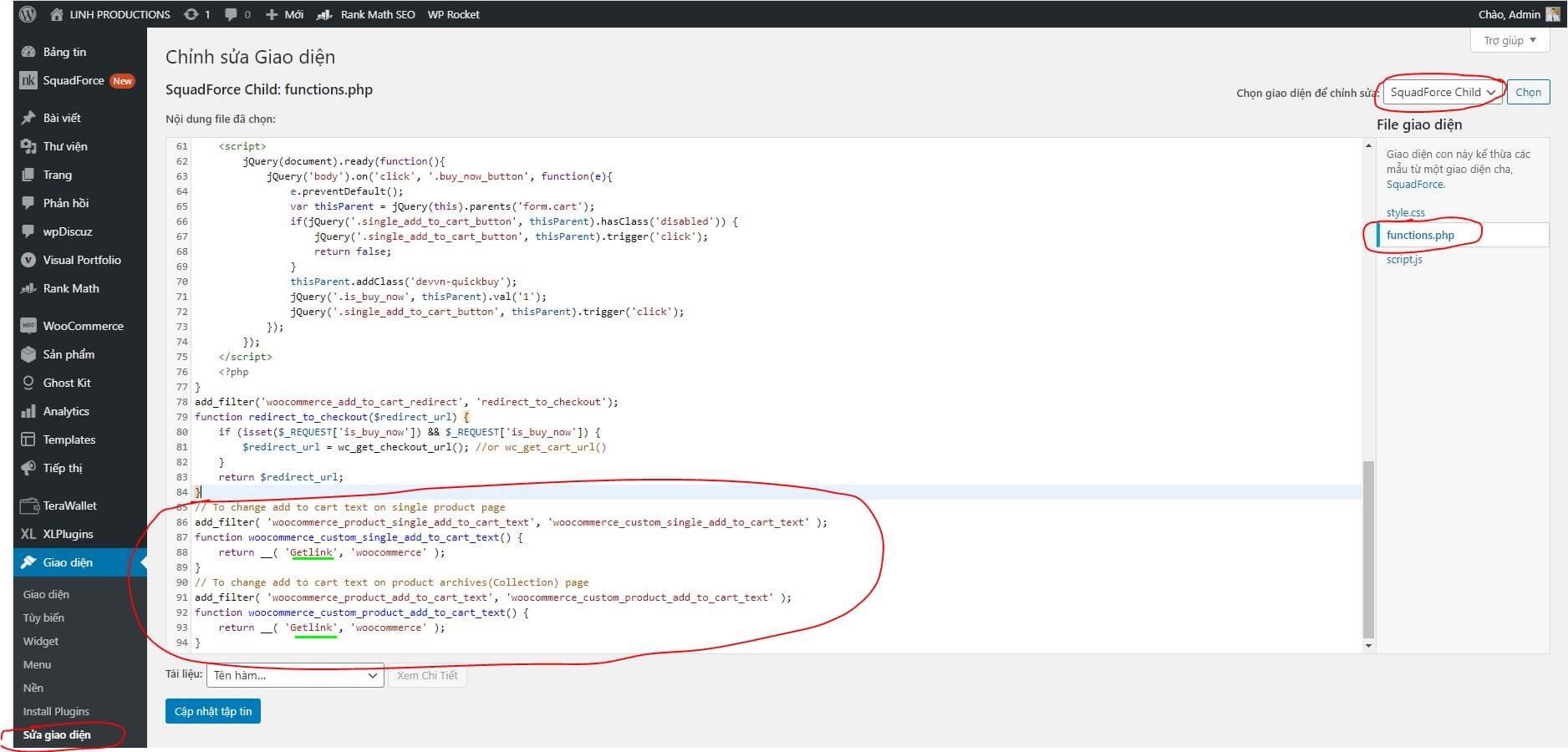 Code đổi chữ Mua Hàng trong Woocommerce