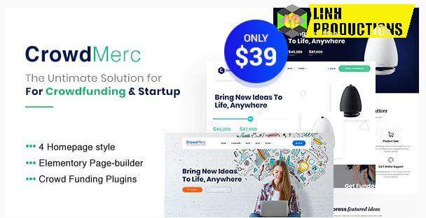 Crowdmerc - Crowdfunding Startup Fundraising WordPress Theme