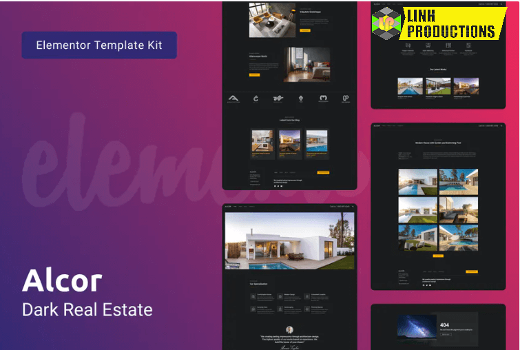 Alcor — Dark Real Estate Elementor Template Kit