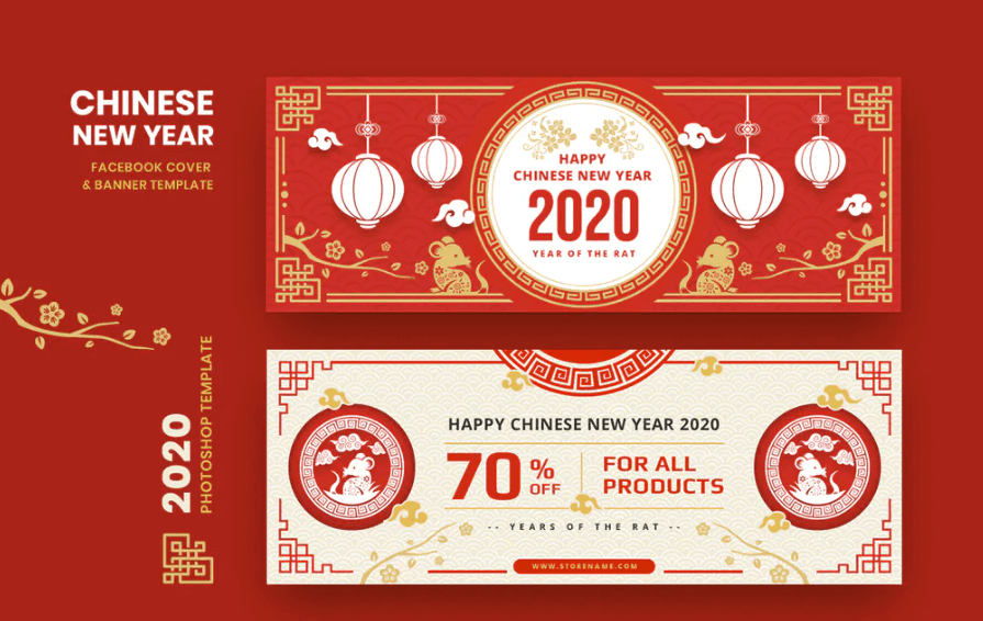 Chinese New Year Facebook Cover Banner Template