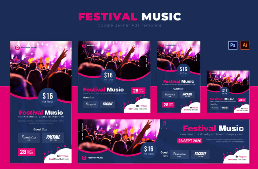 Festival Music Google Banners Ads