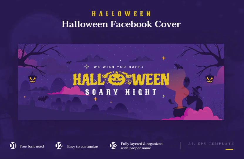 Halloween Facebook Cover Banner Template