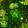 Neon Clover Leaves Falling Background