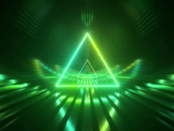 Sci-fi Tunnel with Neon Triangles. An Endless Flight Forward