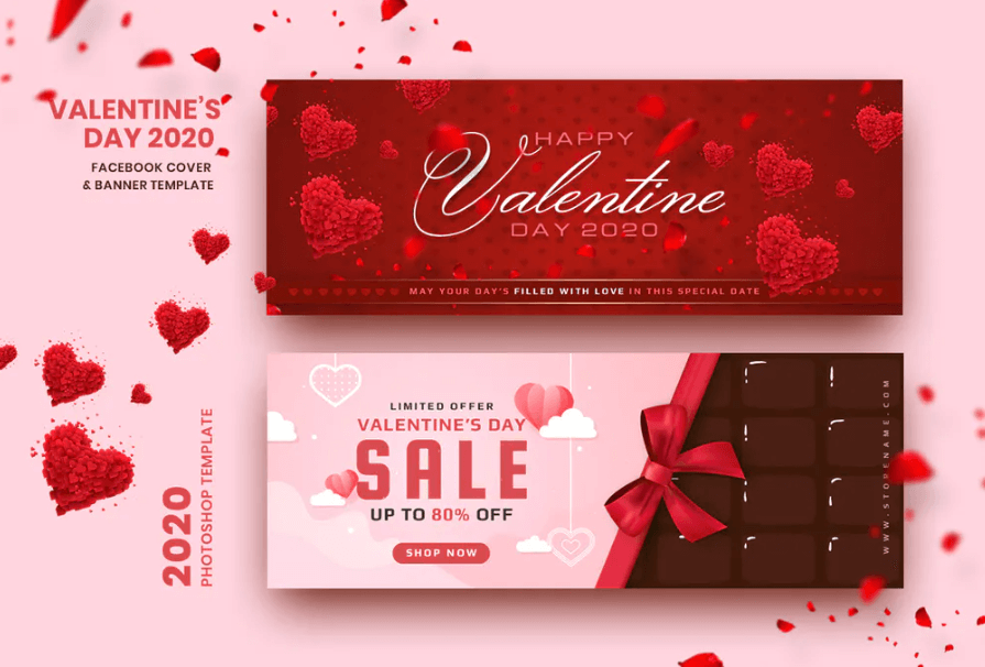 Valentine Facebook Cover Banner Template 1