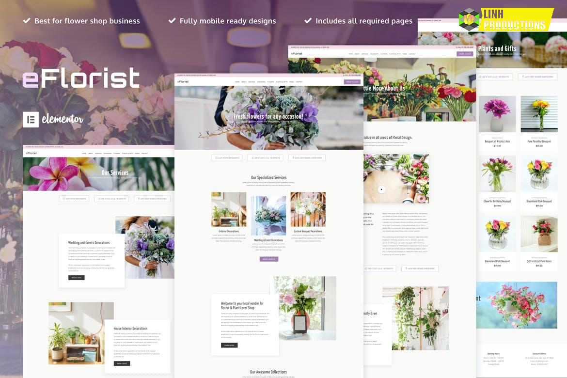 eFlorist - Flower Boutique & Decoration Elementor Template Kit