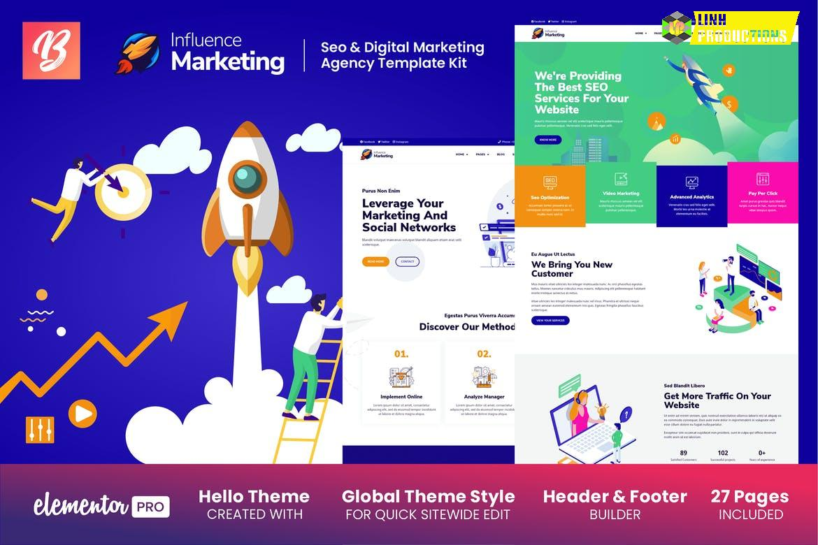 Influence Marketing - SEO & Digital Agency Elementor Template Kit